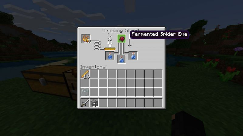 Crafting a fermented spider eye in Minecraft Step 2
