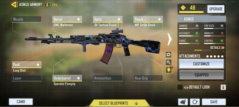 Long-range ASM10 loadout in COD Mobile (Image via Call of Duty Mobile)