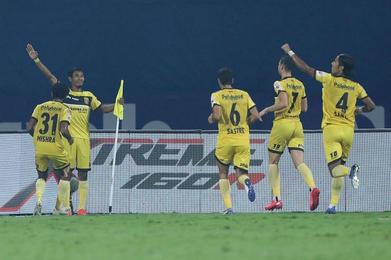 Hyderabad FC players celebrate after scoring against Chennaiyin FC (Image Courtesy: ISL Media)