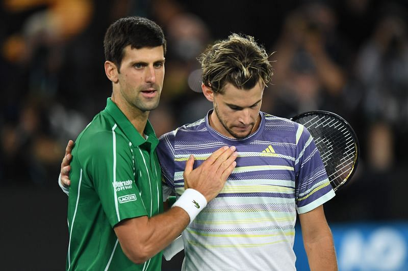 Novak Djokovic after defeating Dominic Thiem at the 2020 Australian Open