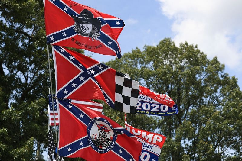 Confederate flag merchandise is seen at a hut across the street from the Talladega Superspeedway prior to the NASCAR Cup Series GEICO 500 on June 22, 2020 in Talladega, Alabama.