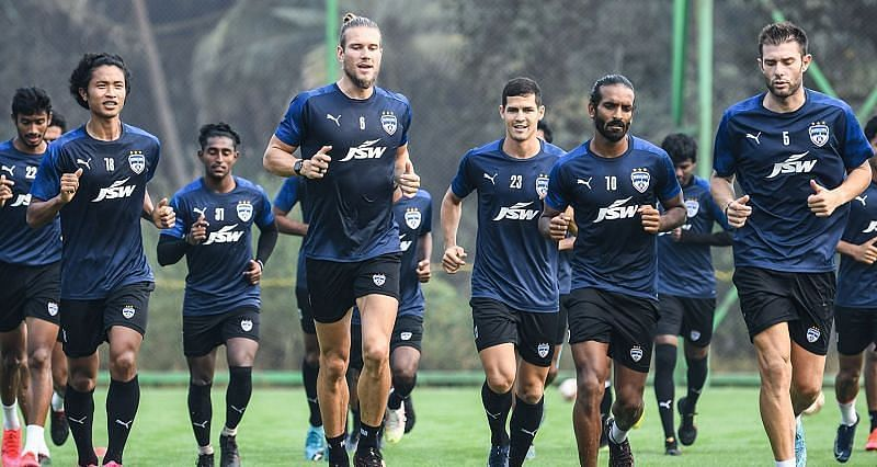 Bengaluru FC players in training ahead of their clash against SC East Bengal (Courtesy - ISL)