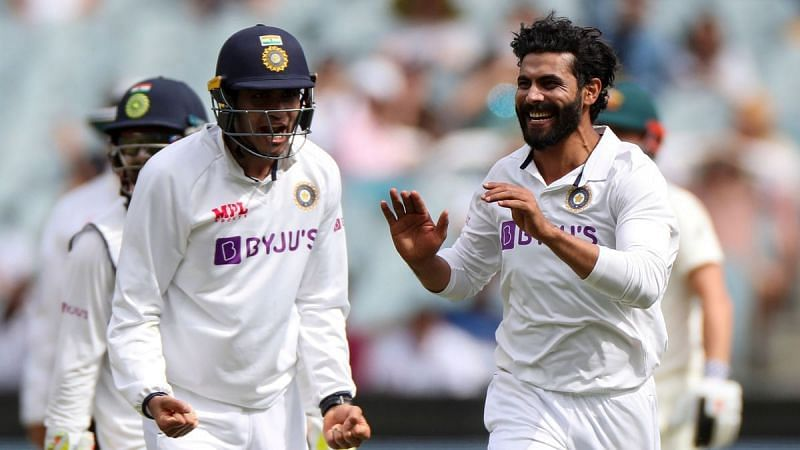 Ravindra Jadeja celebrates after picking up the crucial wicket of Matthew Wade