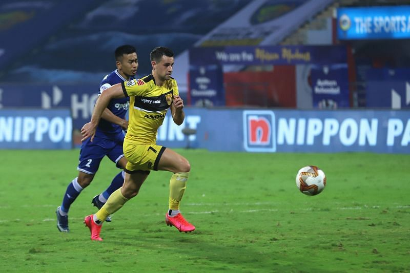 Although Joel Chianese missed some opportunities for Hyderabad FC in the first half, he made up for it by giving his side the lead later (Image Courtesy: ISL Media)