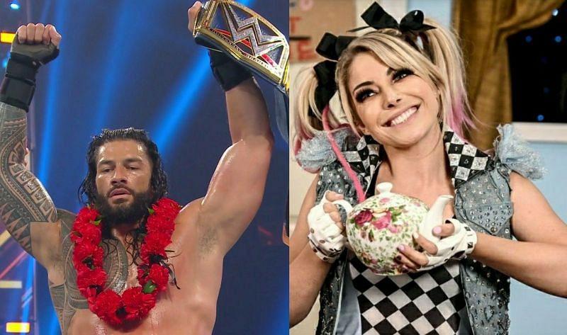 Roman Reigns (left); Alexa Bliss (right)