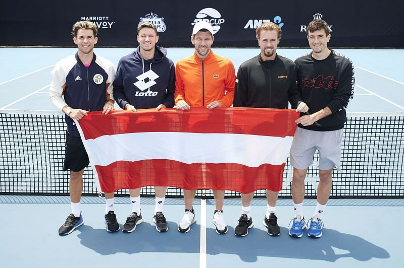 Dominic Thiem with Dennis Novak and the rest of the Austrian team at the 2020 ATP Cup