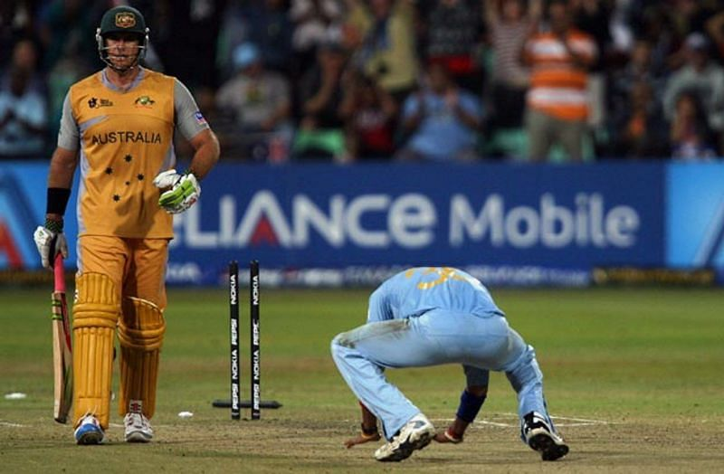 Sreesanth celebrating wicket against Australia in Worldcup 2007