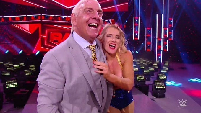 Ric Flair helped Lacey Evans defeat Charlotte Flair this week