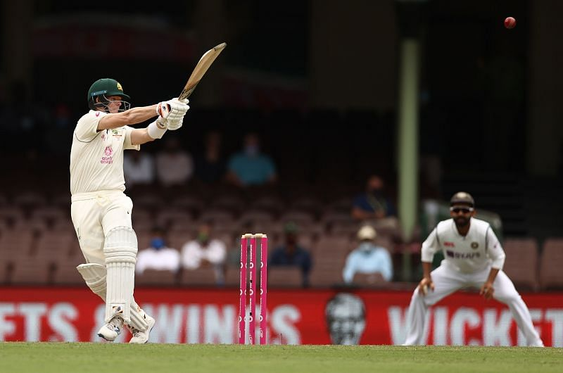 Steve Smith belted the India bowlers on his way to 131 runs.