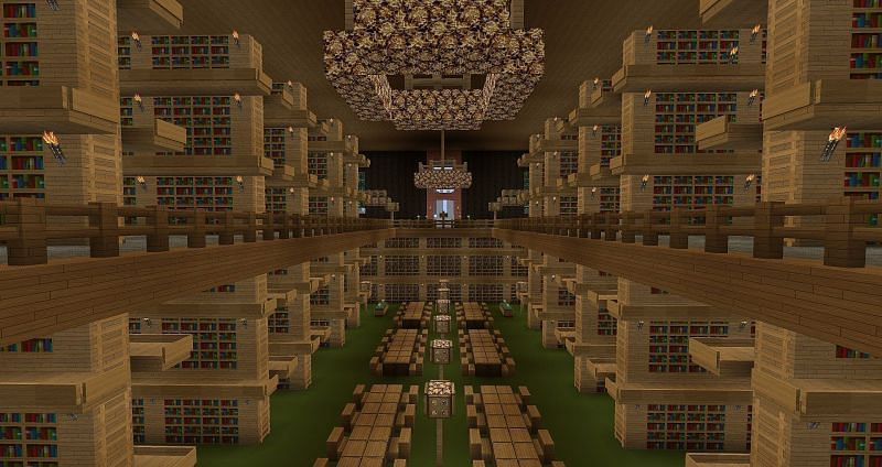 A player constructed library in Minecraft. (Image via pinterest.com)