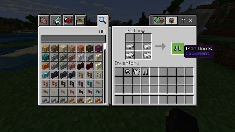 make boots by placing four iron ingots in pairs with space between them