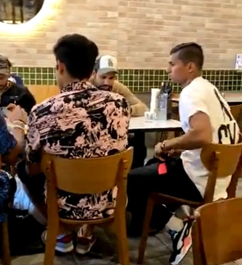 A screenshot of the video featuring the Indian cricketers dining at an indoor venue. Pic: Twitter