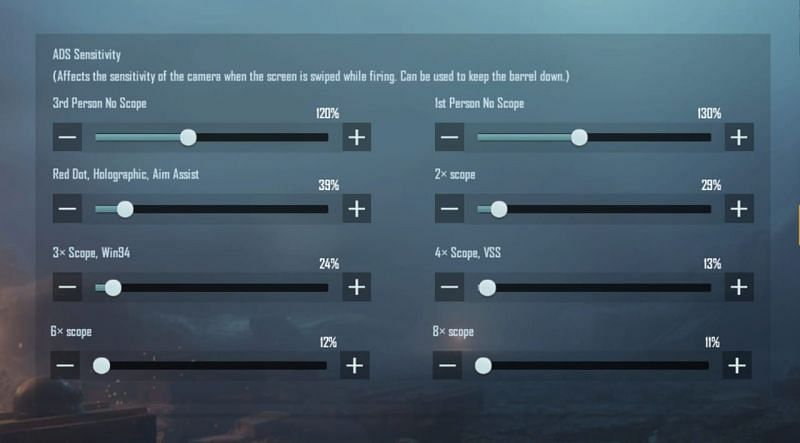 ADS sensitivity settings in PUBG Mobile Lite for low-end devices