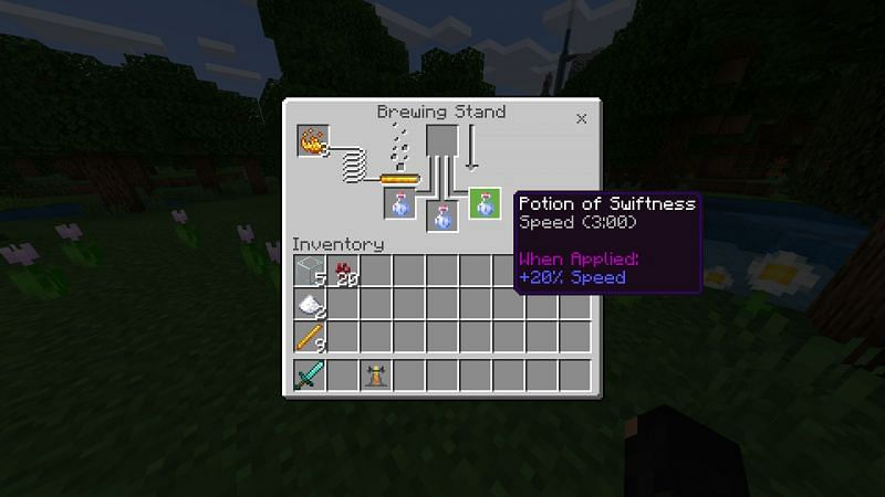 Crafting a potion of Swiftnessn in Minecraft