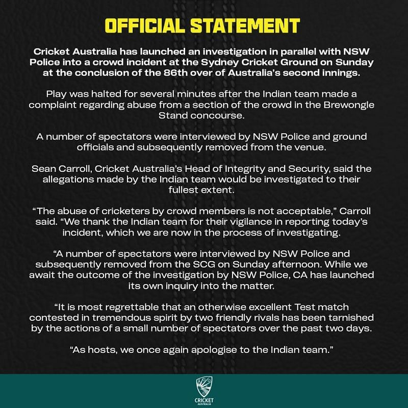 Official statement by Cricket Australia