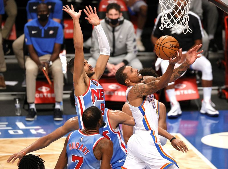 George Hill #3 of the Oklahoma City Thunder shoots as Timothe Luwawu-Cabarrot #9 of the Brooklyn Nets defends during the first half at Barclays Center on January 10, 2021, in the Brooklyn borough of New York City. (Photo by Sarah Stier/Getty Images)
