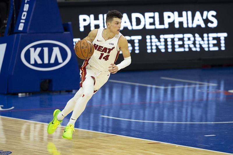 Tyler Herro #14 of the Miami Heat dribbles the ball against the Philadelphia 76ers at the Wells Fargo Center on January 12, 2021 in Philadelphia, Pennsylvania. The 76ers defeated the Heat 137-134. (Photo by Mitchell Leff/Getty Images)