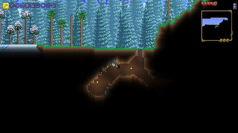 finding a natural cave or dig down until you find some iron/lead ore