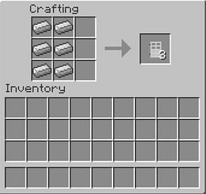 Crafting an iron door in Minecraft