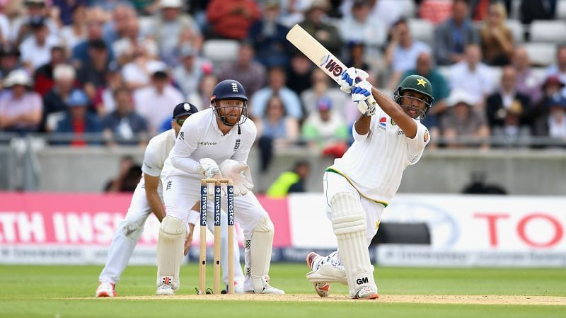 Sami Aslam in action for Pakistan.