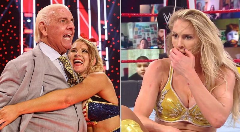 Ric Flair, Lacey Evans, and Charlotte Flair.