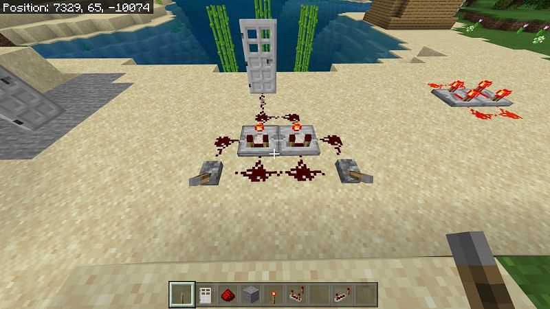 Place two redstone comparators side by side and right click to activate them