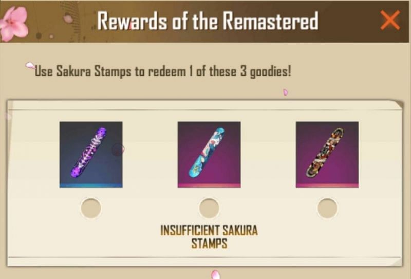 Rewards which can be collected at 80 stamps