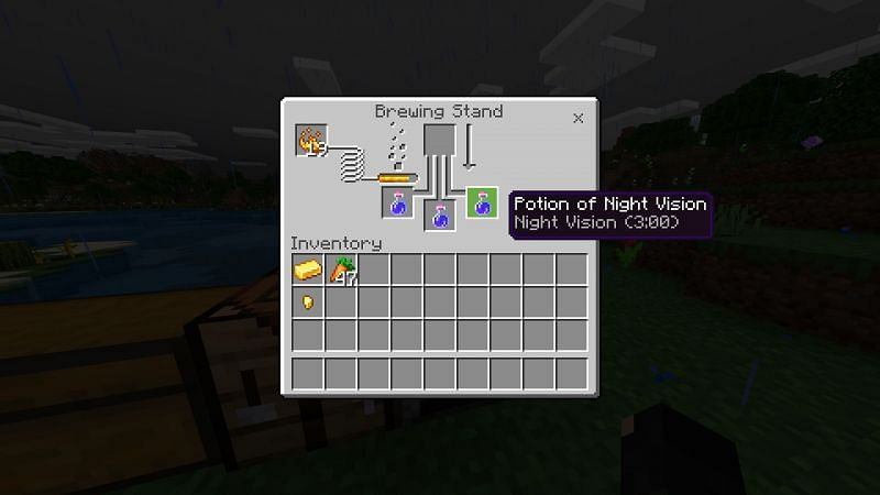 Crafting potion on night vision in Minecraft