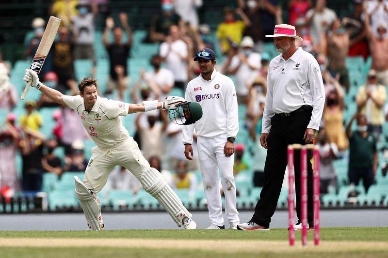 Steve Smith celebrating his hundred against India in the Sydney Test.