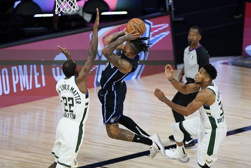 Giannis Antetokounmpo and KhrisMiddleton in action for the Milwaukee Bucks