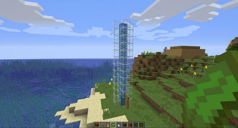 Step 8 to make water elevator in Minecraft