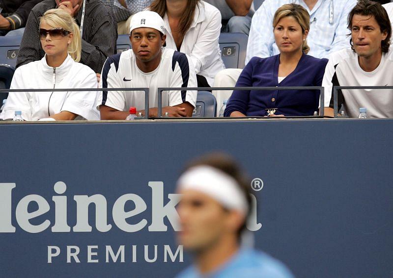 Tiger Woods in attendance during Roger Federer