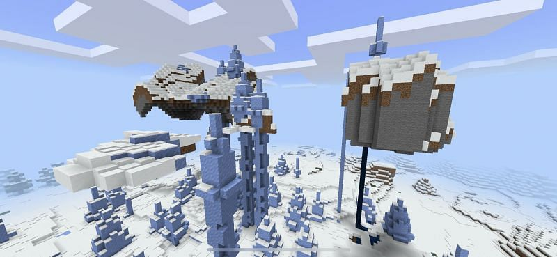 Floating islands where some are impaled by ice spikes (Image via Minecraft)
