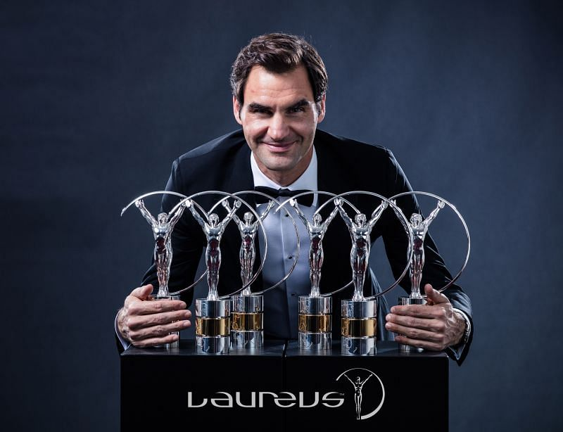 Roger Federer with all his Laureus Awards