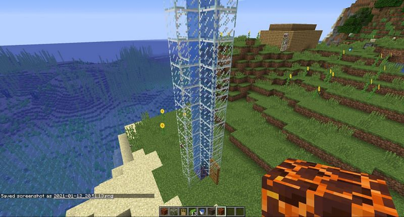 Replacing the block at the bottom with a magma block in Minecraft