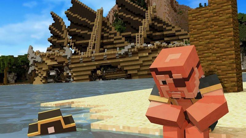 A pirate captain shipwrecked alone in Minecraft. (Image via Captain Deadlock | Minecraft/YouTube)