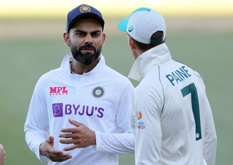 Virat Kohli with Tim Paine after Adelaide Test