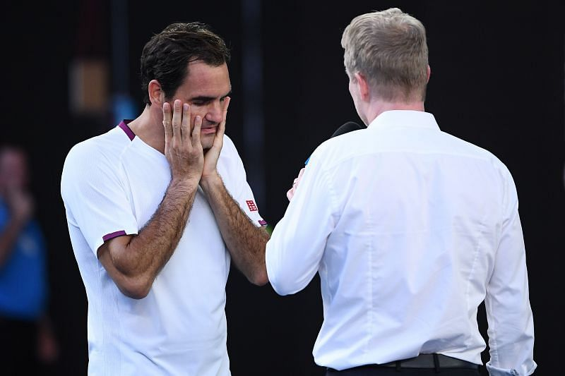 Jim Courier interviewing Roger Federer at the 2020 Australian Open.