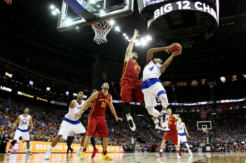 Kansas Jayhawks v Iowa State Cyclones in the first half of the Big 12 championship game