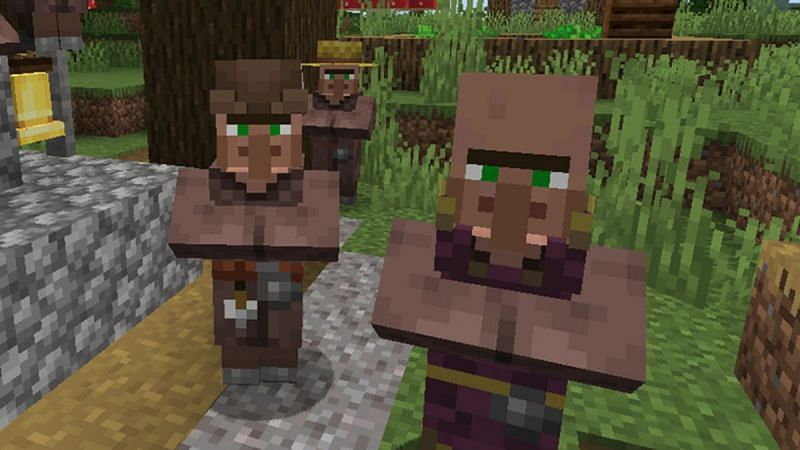 Villagers with various professions in Minecraft. (Image via Minecraft.net)