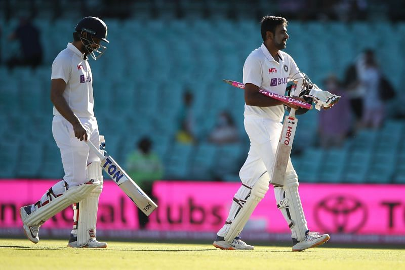 Hanuma Vihari (L) overcame an injury to see out the game against Australia