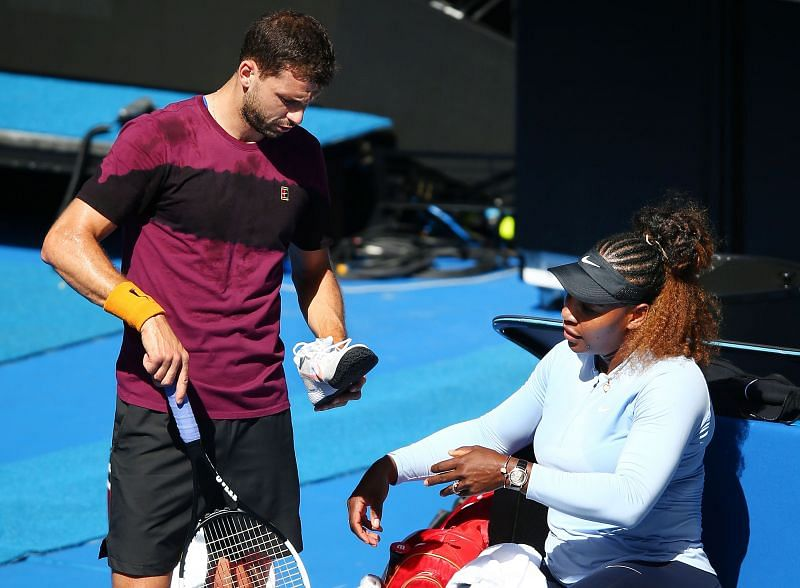 Grigor Dimitrov and Serena Williams during a practice session together ahead of the 2019 Australian Open