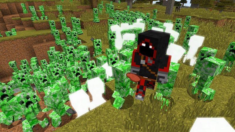 BadBoyHalo surrounded by Creepers in Minecraft. (Image via BadBoyHalo/YouTube)
