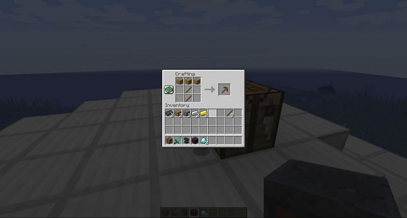 Crafting a wooden pickaxe