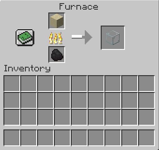 Crafting glass in Minecraft