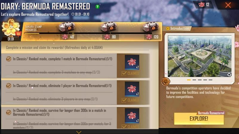 The players can collect the Sakura Stamps by completing daily missions
