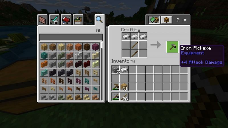 Crafting Iron Pickaxe in Minecraft