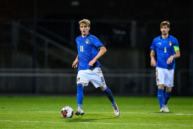 Nicolo Rovella in action for the Italy u-21 side
