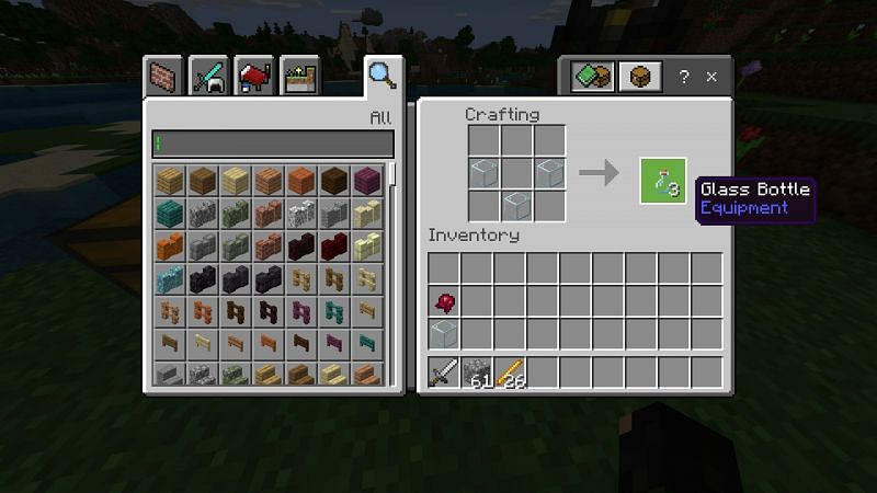 Crafting glass bottle in Minecraft