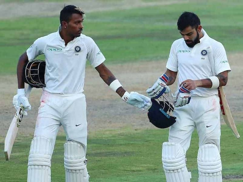 Virat Kohli (R) and Hardik Pandya (L) return to India